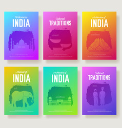 Set of india cultural country and landmarks vector