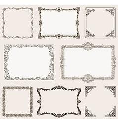 Set Ornate frames and vintage scroll elements vector