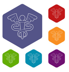 sign medicine icons hexahedron vector image
