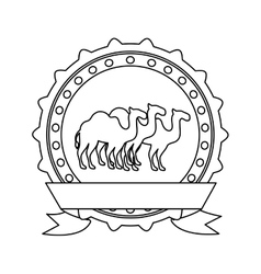 Silhouette border insignia with camels and label vector