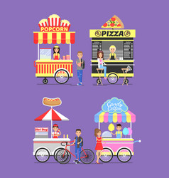 Street carts with food with vendors in aprons vector