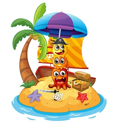 Three playful pirate monsters in the island vector image