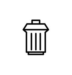 trashcan icon black on white vector image