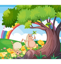 Two wild animals near the tree with flowers vector image