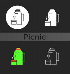 Vacuum flask dark theme icon vector