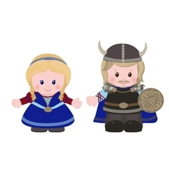 Vikings man and woman in in ancient scandinavian vector image