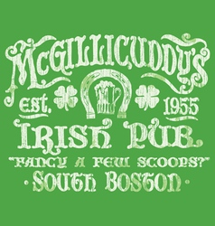 Vintage Irish Pub Sign T-shirt Graphic vector image