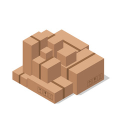 warehouse cardboard boxes delivery goods vector image