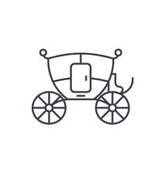 wedding carriage line icon concept wedding vector image