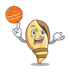 With basketball sea shell character cartoon vector