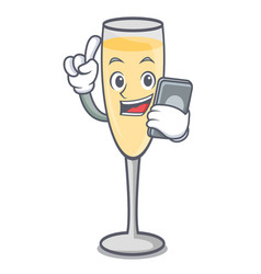 With phone champagne character cartoon style vector