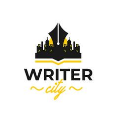 writer city logo design vector image