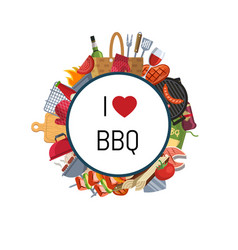 barbecue or grill elements around circle vector image