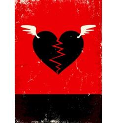Broken heart with wings vector image vector image