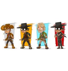 cartoon sheriff and cowboy character set vector image