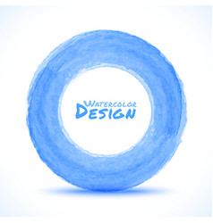 Hand drawn watercolor blue light circle design ele vector image