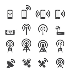 Mobile devices and wireless icon set vector image vector image