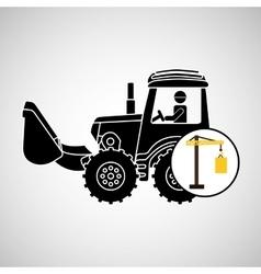construction truck concept crane barrel design vector image
