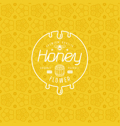 label for honey and flower seamless pattern vector image vector image