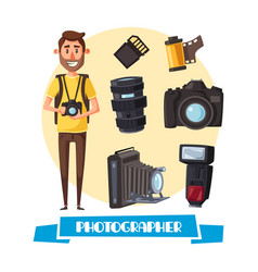 photographer with digital camera cartoon icon vector image