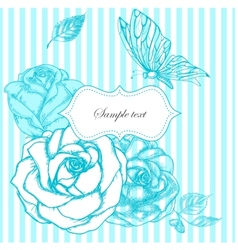 roses and butterfly frame vector image