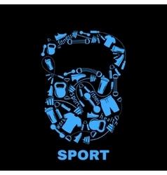 Sports equipment inside kettlebell vector image vector image