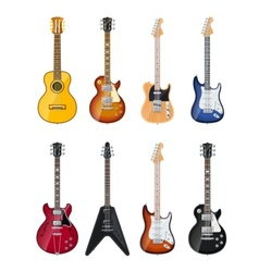 acoustic and electric guitars vector image vector image