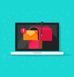 computer with mailbox on screen vector image vector image