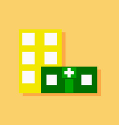 Flat icon design collection hospital building in vector