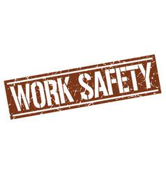 Work safety square grunge stamp vector