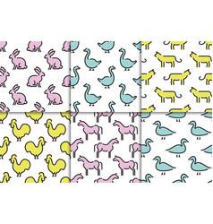kids seamless pattern animals vector image vector image