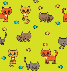 Pattern with little kittens vector image