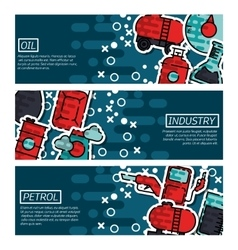 Set of Horizontal Banners about oil industry vector image vector image