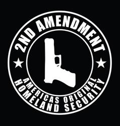 2nd amendment design with gun and star vector