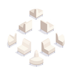 3d sofa view from rear and from front vector image