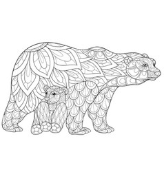 adult coloring bookpage a family of bears image vector image