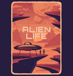 alien life in space vintage poster vector image