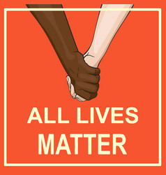 All lives matter banner with multiracial couple vector