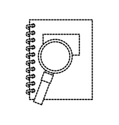 back to school notebook and magnifier accessories vector image