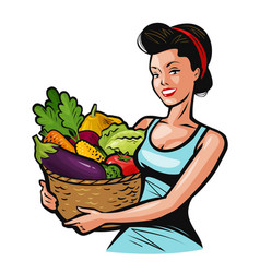 Beautiful girl holding a basket full of vegetables vector
