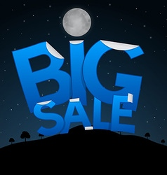 Big Sale Title on Dark Landscape with Moon vector