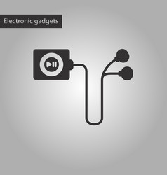 Black and white style icon player with headphones vector