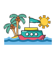 boat and beach vector image