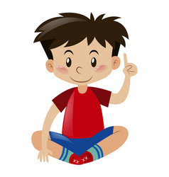 boy in red shirt pointing finger up vector image