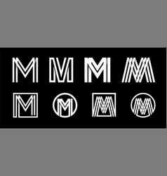 Capital letter m modern set for monograms logos vector