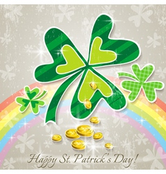 Card for St Patricks Day with clover and golden co vector