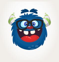 cartoon blue monster nerd wearing eyeglasses vector image