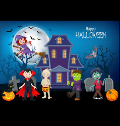 cartoon happy kids with halloween background vector image