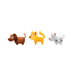 Cat and dogs funny cartoon farm animals game vector