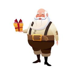character santa claus christmas hoding gift box vector image